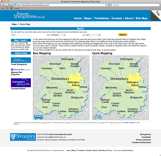 Pindar Creative launch Shropshire Council Interactive Mapping & Sustainable Travel Website